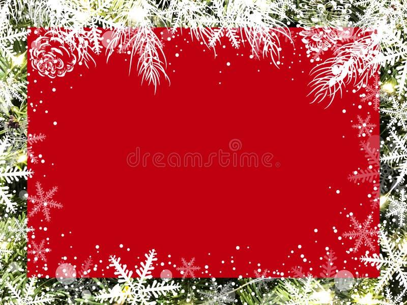 Conception de fond de Noël de conseil rouge vide sur l'arbre de Noël avec la neige et le flocon de neige illustration stock