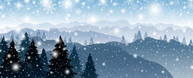 Conception de fond de Noël de pin et de montagne avec la neige tombant en hiver illustration de vecteur