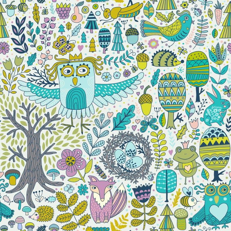 Conception de forêt de vecteur, modèle sans couture floral avec des animaux de forêt : grenouille, renard, hibou, lapin, hérisson illustration de vecteur