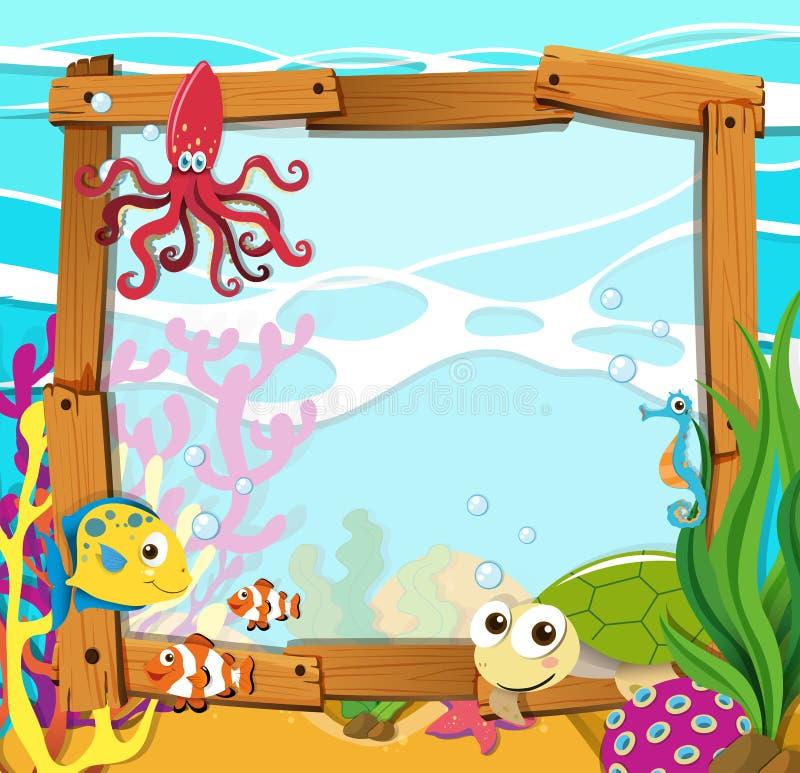 Conception de frontière avec des animaux de mer illustration de vecteur