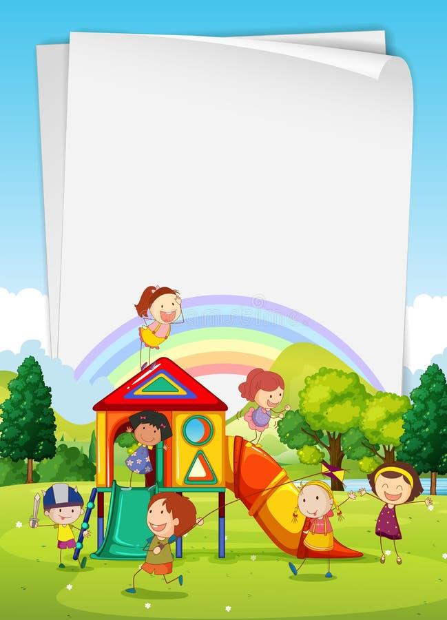 Conception de frontière avec des enfants dans le terrain de jeu illustration libre de droits