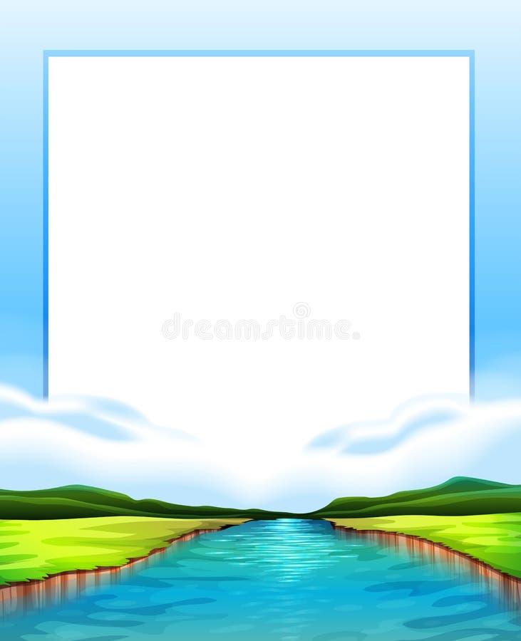 Conception de frontière avec la scène de rivière illustration libre de droits