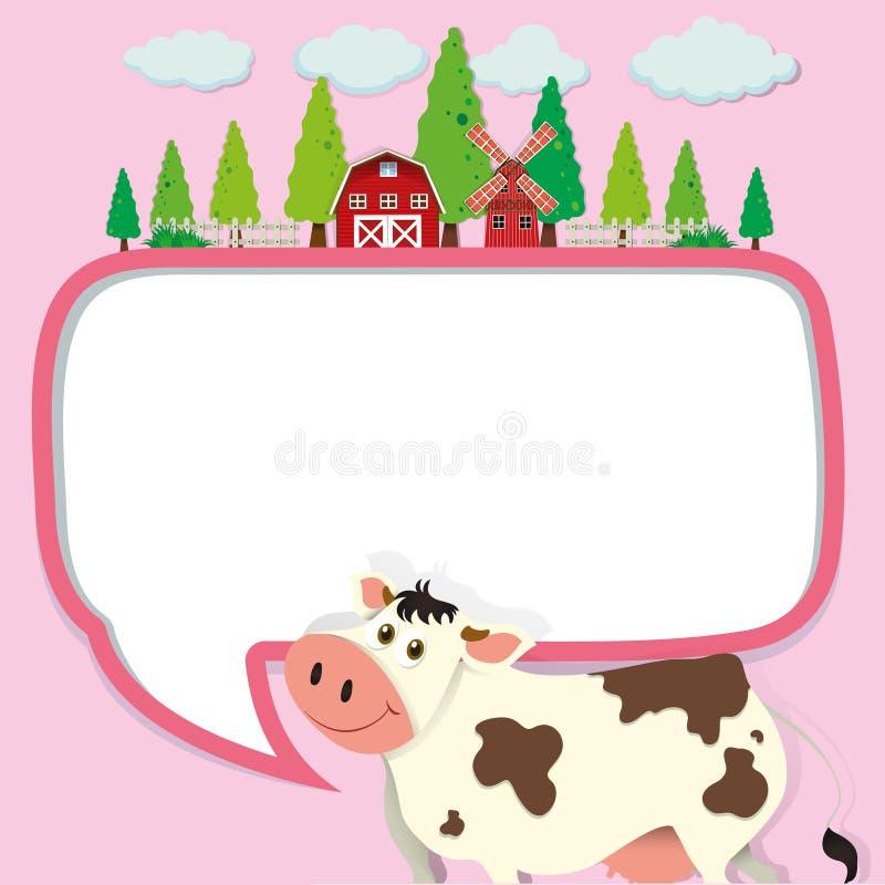 Conception de frontière avec la vache et la ferme illustration libre de droits