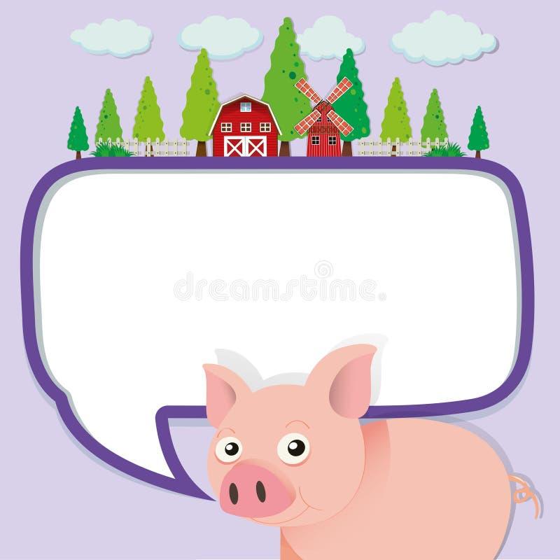 Conception de frontière avec le porc à la ferme illustration libre de droits