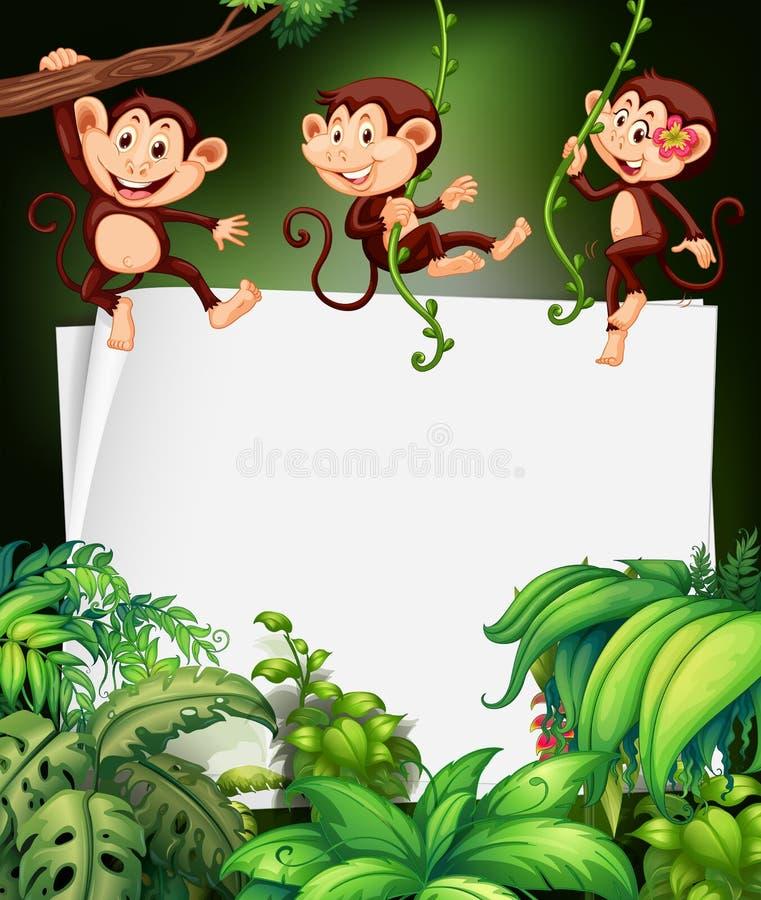 Conception de frontière avec le singe sur l'arbre illustration stock