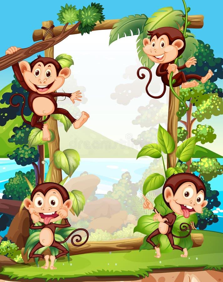 Conception de frontière avec quatre singes illustration stock