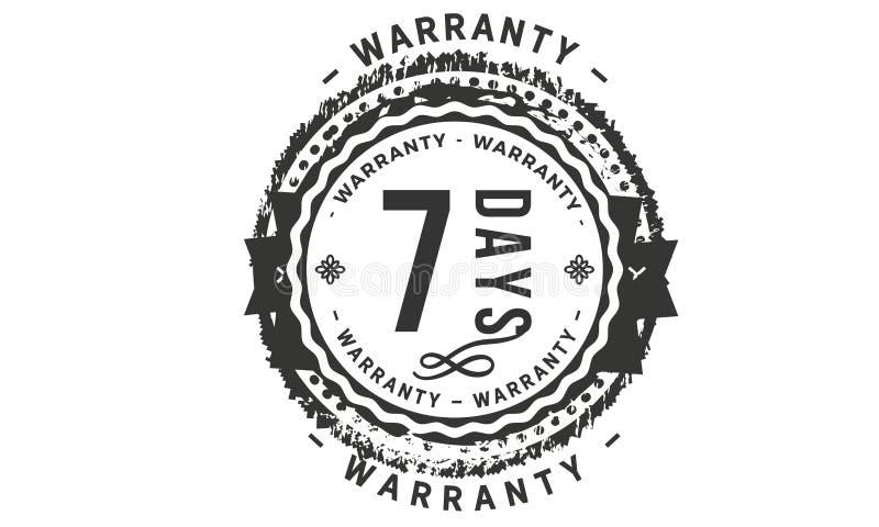 conception de garantie de 7 jours, le meilleur timbre noir illustration stock
