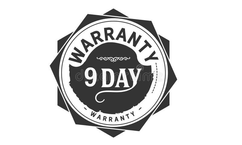 conception de garantie de 9 jours, le meilleur timbre noir illustration stock