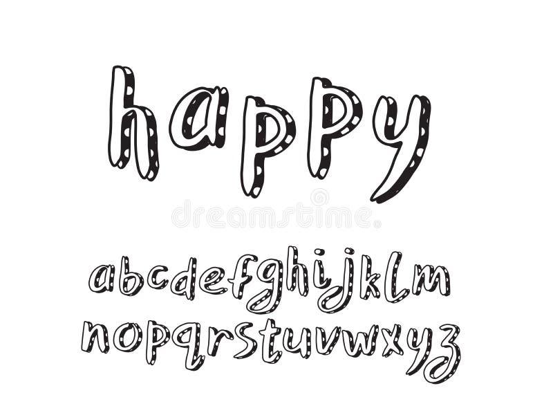 Conception de griffonnage d'alphabet Lettres minuscules Police de brosse de main ENV 10 illustration de vecteur