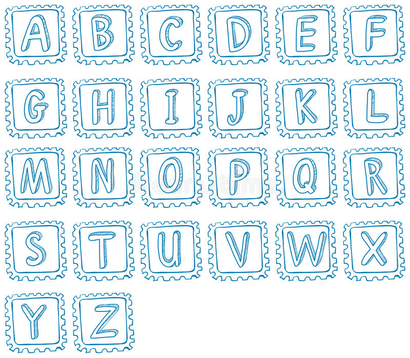 Conception de griffonnage de l'alphabet illustration libre de droits