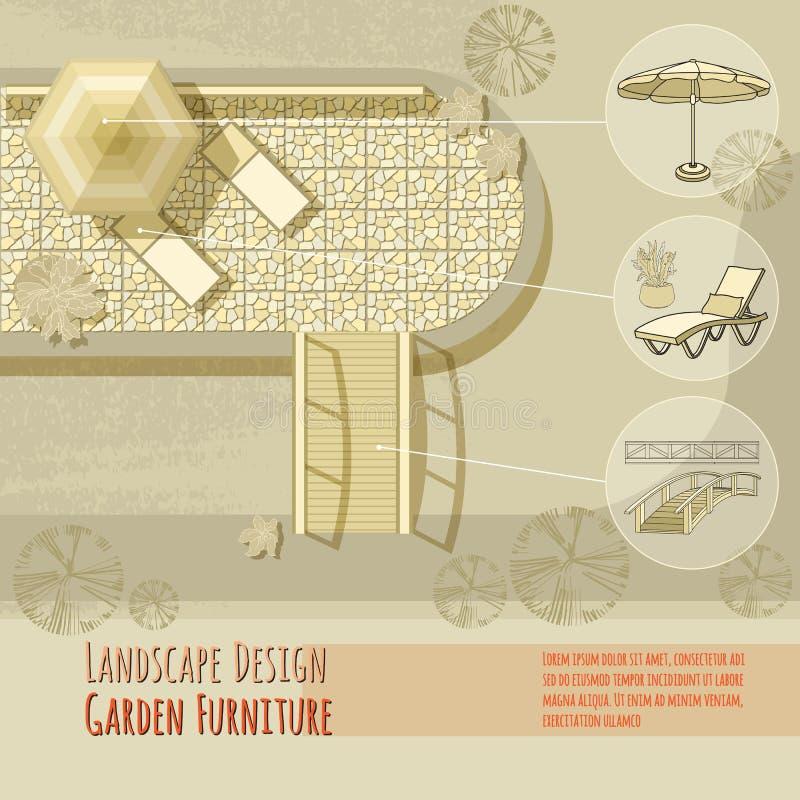 Conception de jardin Chaises longues, pont, parapluie Vue supérieure illustration stock