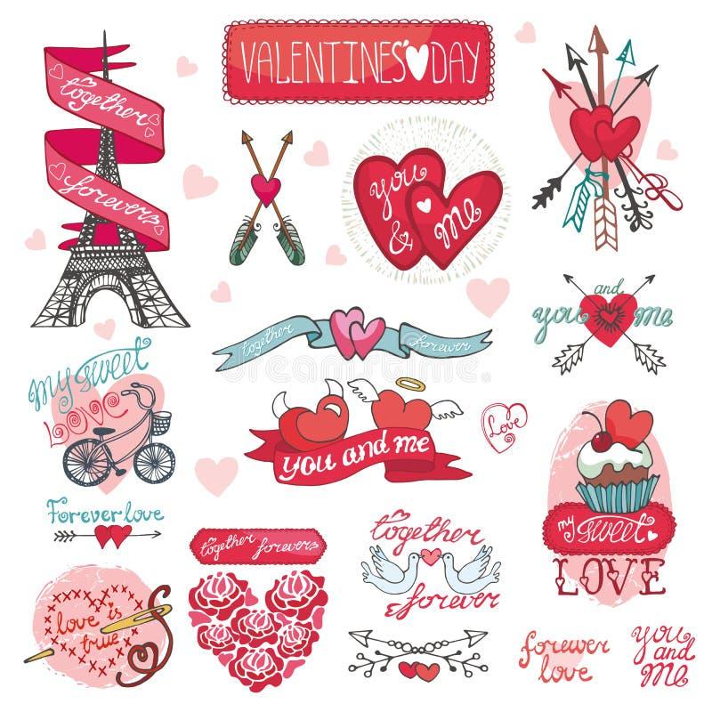 Conception de jour de valentines, labels, éléments d'icônes illustration libre de droits