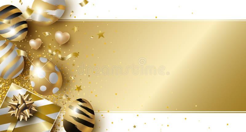 Conception de jour de Pâques des oeufs et du boîte-cadeau d'or sur l'illustration blanche de vecteur de fond illustration de vecteur