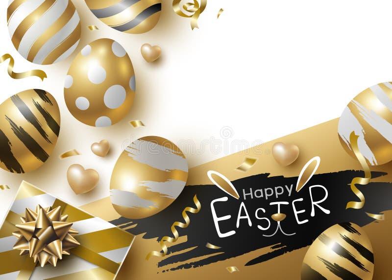Conception de jour de Pâques des oeufs et du giftbox d'or sur l'illustration blanche de vecteur de fond illustration libre de droits