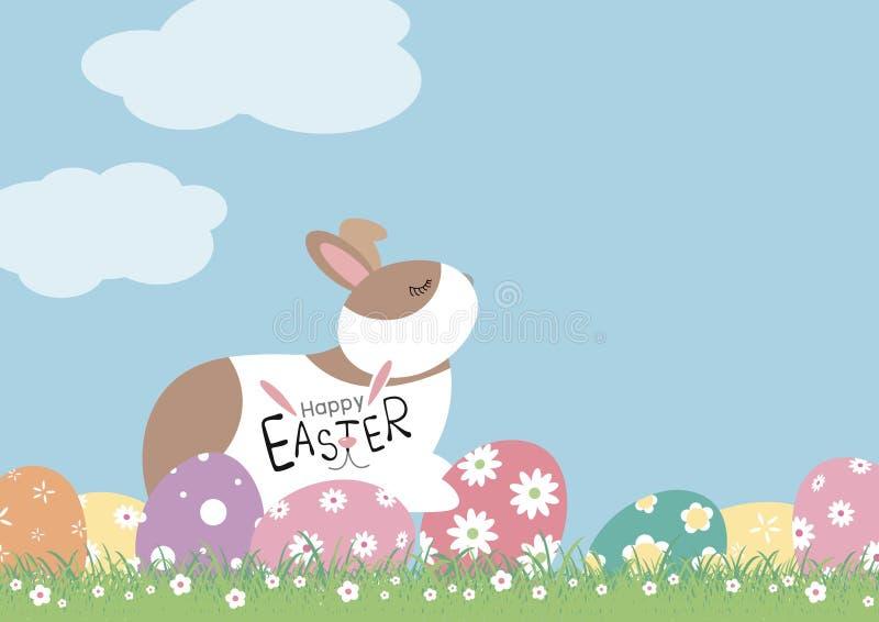 Conception de jour de Pâques de lapin et d'oeufs avec des fleurs sur l'herbe illustration libre de droits