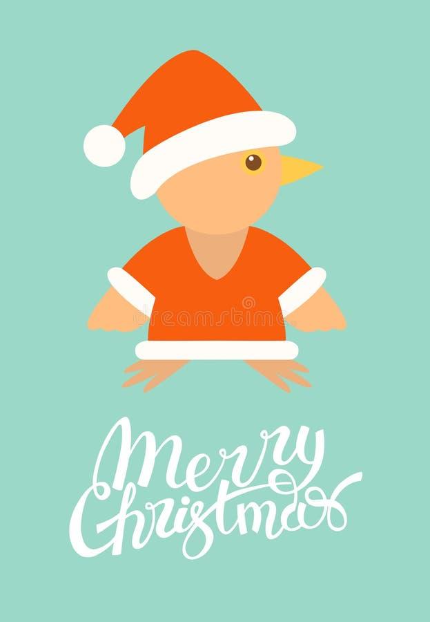 Conception de Joyeux Noël Carte de voeux oiseau plat illustration libre de droits