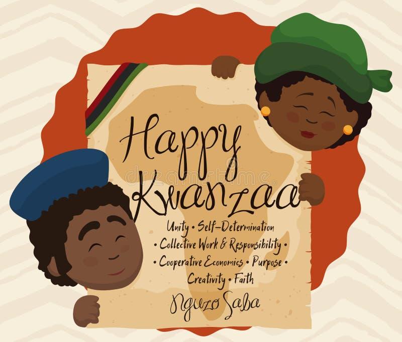 Conception de Kwanzaa avec des couples tenant le rouleau avec les sept principes, illustration de vecteur illustration stock