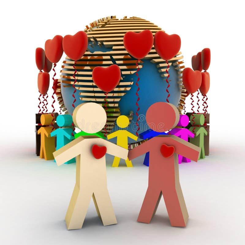 Conception de l'amour et de l'amitié dans le monde entier illustration de vecteur