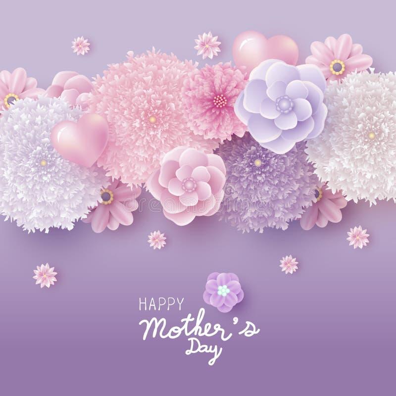 Conception de l'avant-projet de carte de jour de mères de vecteur de fleurs illustration de vecteur