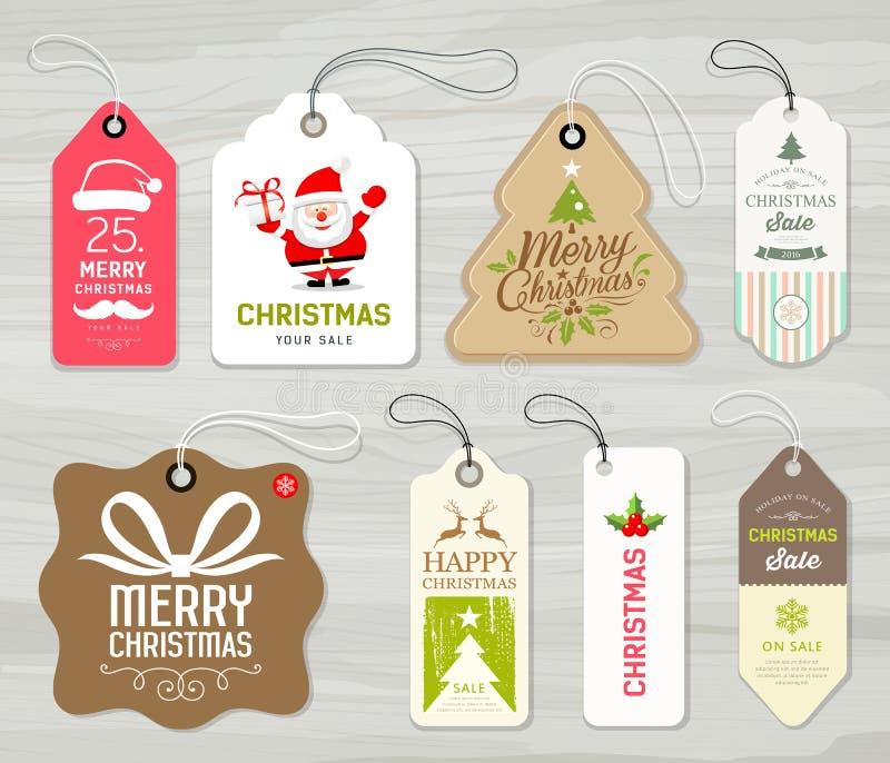 Conception de l'avant-projet colorée de Joyeux Noël de papier pour étiquettes illustration stock