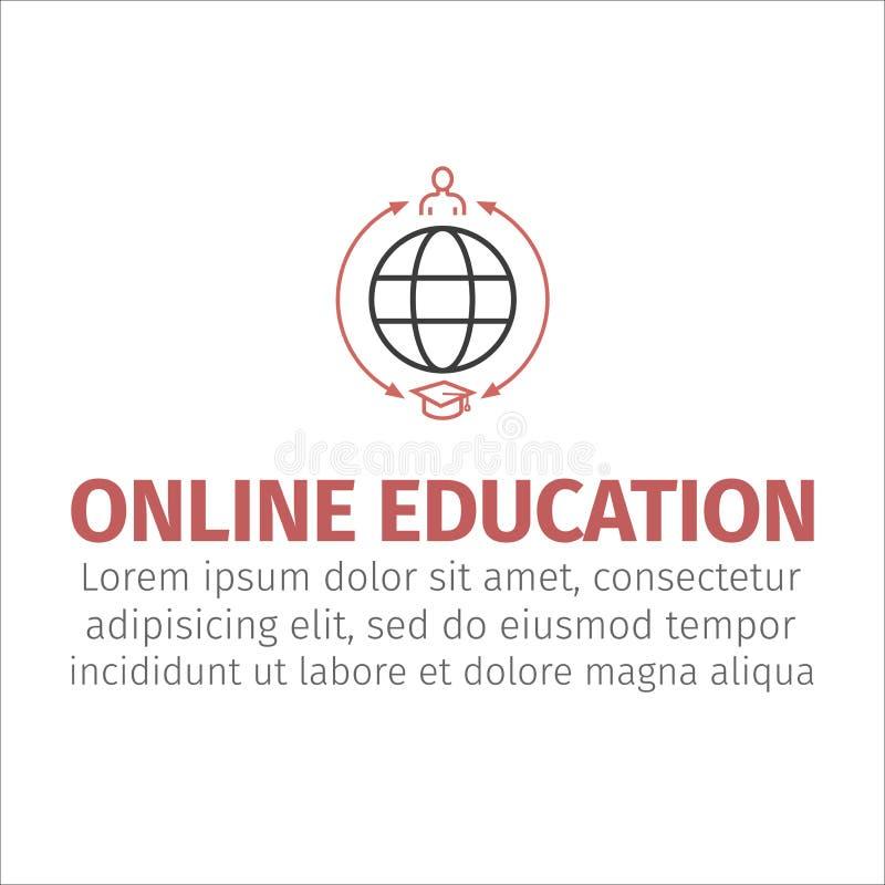 Conception de l'avant-projet d'apprentissage en ligne, illustration de vecteur Icône en ligne d'éducation illustration de vecteur