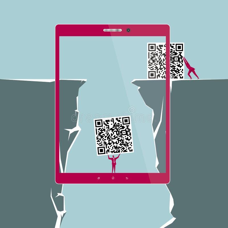 Conception de l'avant-projet d'Internet L'homme d'affaires porte le code de QR illustration de vecteur