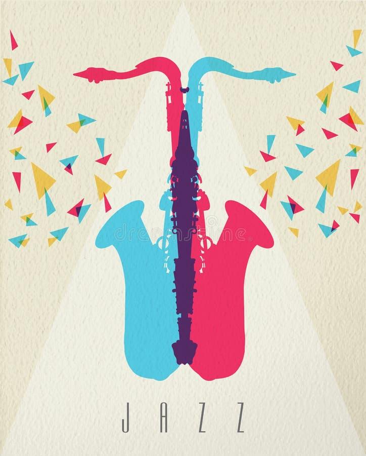 Conception de l'avant-projet de couleur de bande de saxophone de musique de jazz illustration de vecteur