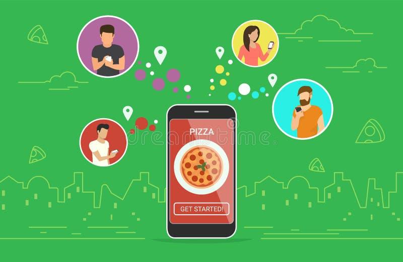 Conception de l'avant-projet en ligne de commande de pizza illustration de vecteur