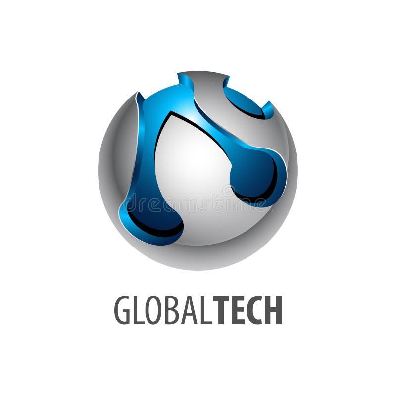 Conception de l'avant-projet globale de logo de technologie de lien de sphère de Digital style 3D tridimensionnel Élément graphiq illustration stock