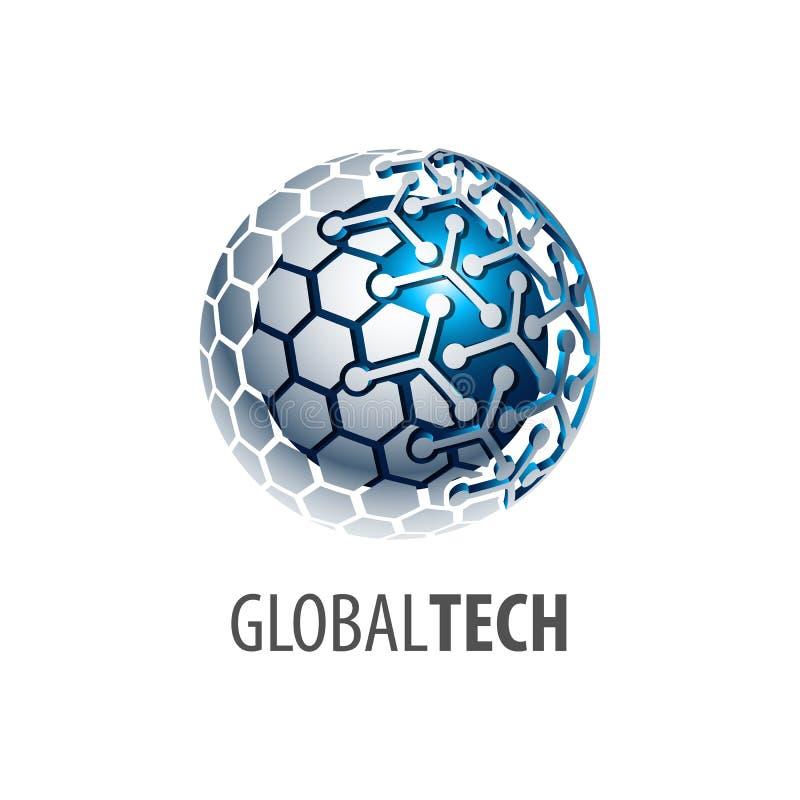 Conception de l'avant-projet globale de logo de technologie de lien de sphère de Digital style 3D tridimensionnel Élément graphiq illustration libre de droits