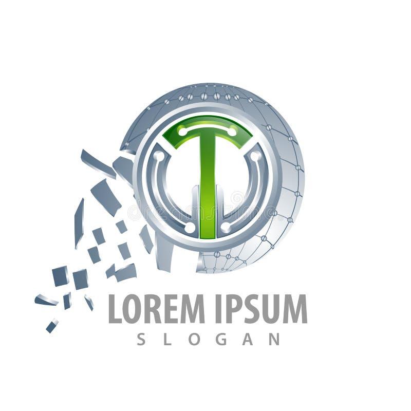 Conception de l'avant-projet de lettre de la technologie T de cercle Vecteur graphique d'élément de calibre de symbole illustration de vecteur
