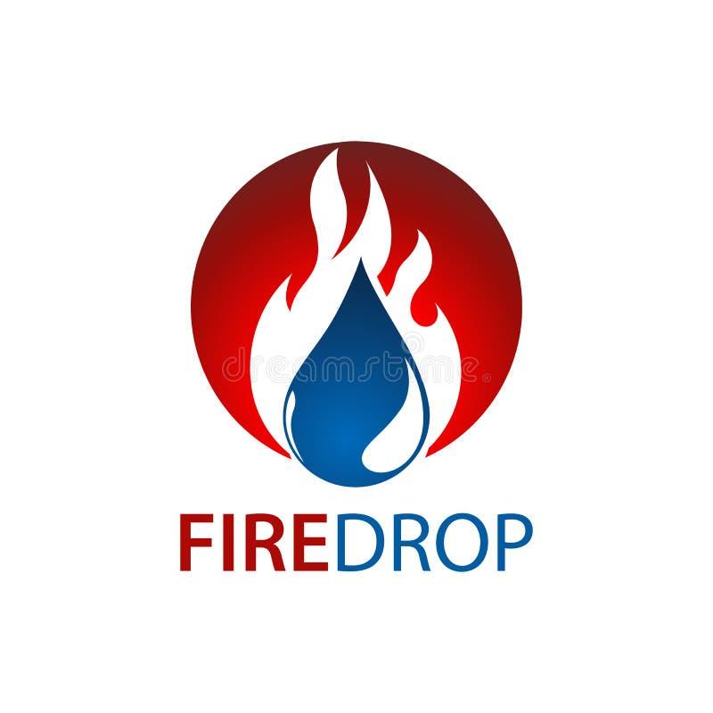 Conception de l'avant-projet de logo de baisse de l'eau du feu de cercle Élément graphique de calibre de symbole illustration libre de droits