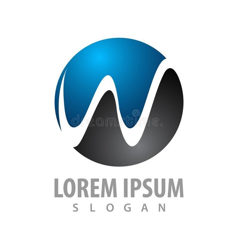 Conception de l'avant-projet de logo de la lettre initiale W de cercle Vecteur graphique d'élément de calibre de symbole illustration stock