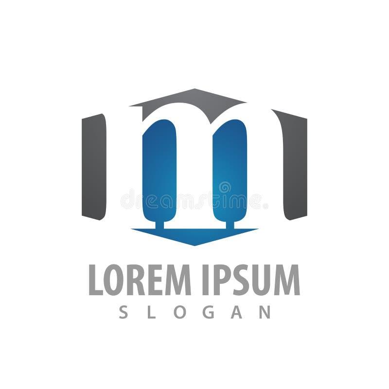 Conception de l'avant-projet de logo de lettre de l'hexagone M Vecteur graphique d'élément de calibre de symbole illustration libre de droits