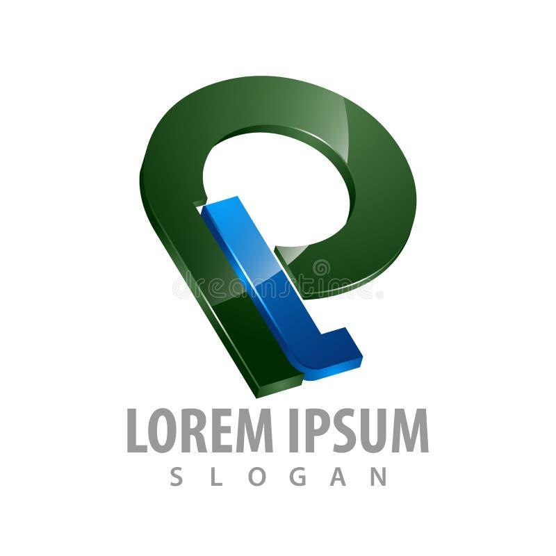 conception de l'avant-projet de logo de PL de la lettre 3D initiale Vecteur graphique d'élément de calibre de symbole illustration stock