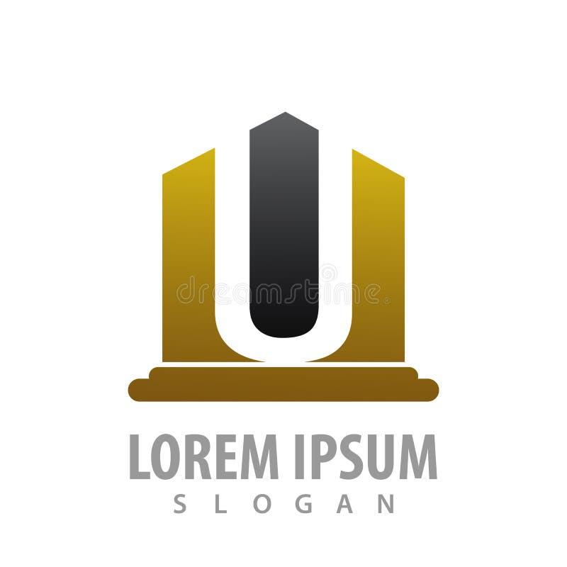 Conception de l'avant-projet de luxe de pilier de la lettre initiale U Vecteur graphique d'élément de calibre de symbole illustration libre de droits