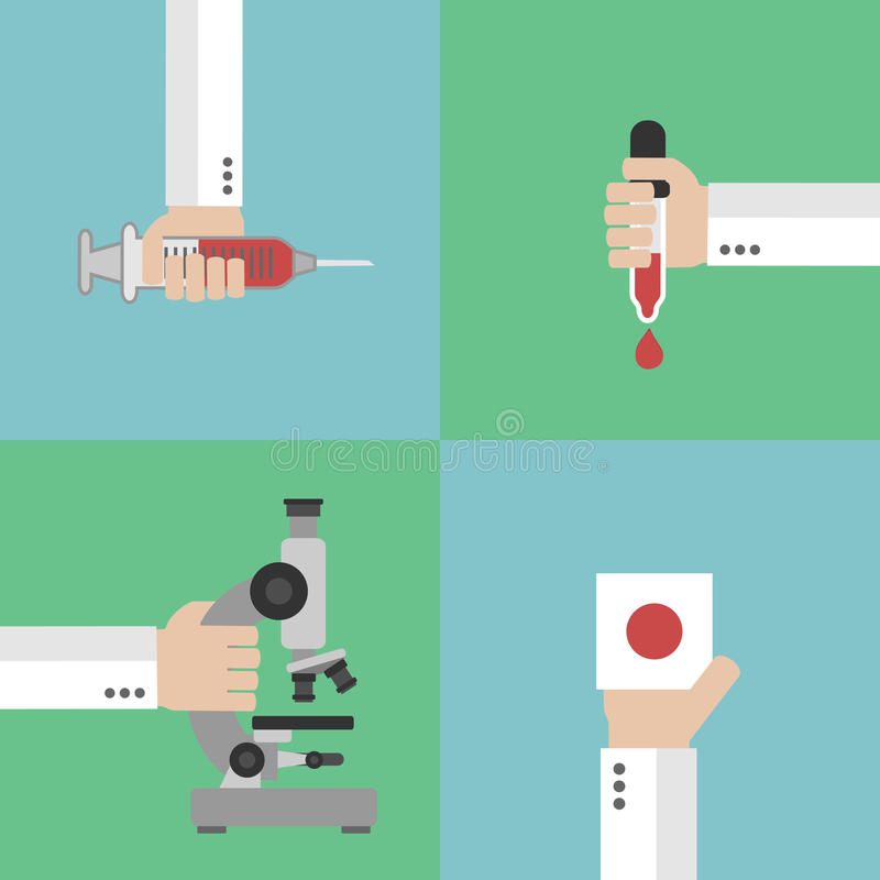 Conception de l'avant-projet médicale d'analyse de sang plate illustration libre de droits