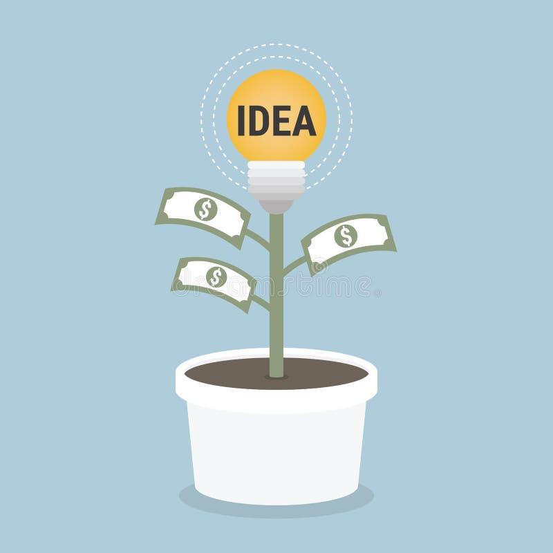 Conception de l'avant-projet plate croissante d'argent avec l'ampoule et l'argent illustration stock