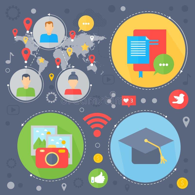 Conception de l'avant-projet plate de réseau social et de media social Icônes de media en cercles Calibre d'infographics de vente illustration libre de droits