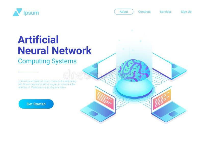 Conception de l'avant-projet plate isométrique de technologie de réseaux neurologiques d'intelligence artificielle future illustration de vecteur