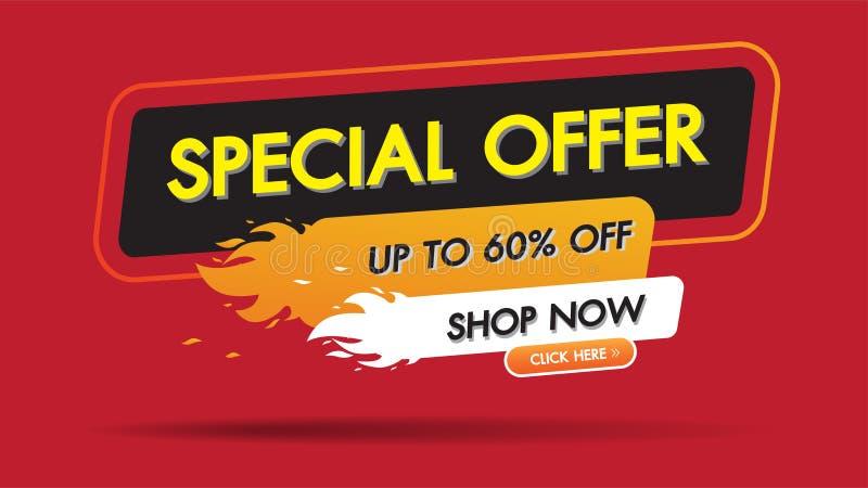 Conception de l'avant-projet de promotion de bannière de remise de calibre de brûlure du feu de vente d'offre spéciale, labels sp illustration libre de droits
