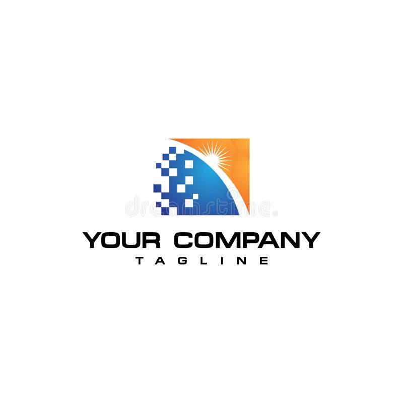 Conception de l'avant-projet solaire de logo de pixel illustration libre de droits
