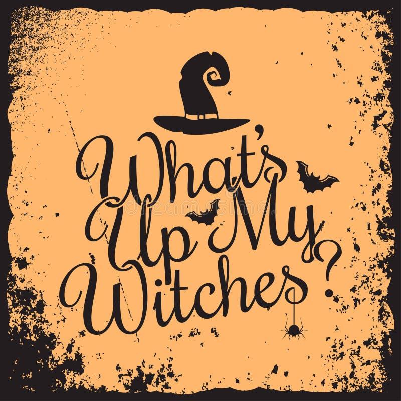 Conception de l'avant-projet de sorcières de lettrage de vintage de Halloween illustration libre de droits