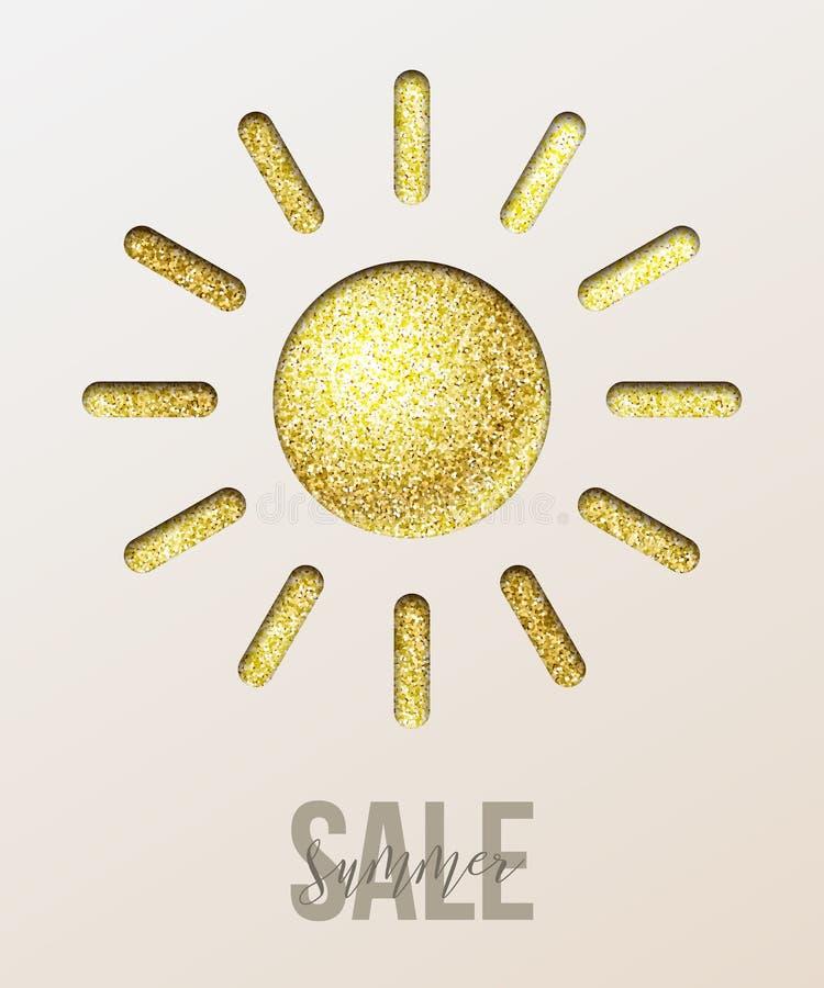 Conception de l'avant-projet de vente d'été Le papier d'or a coupé le texte du soleil et de vente d'été Illustration de vecteur illustration de vecteur