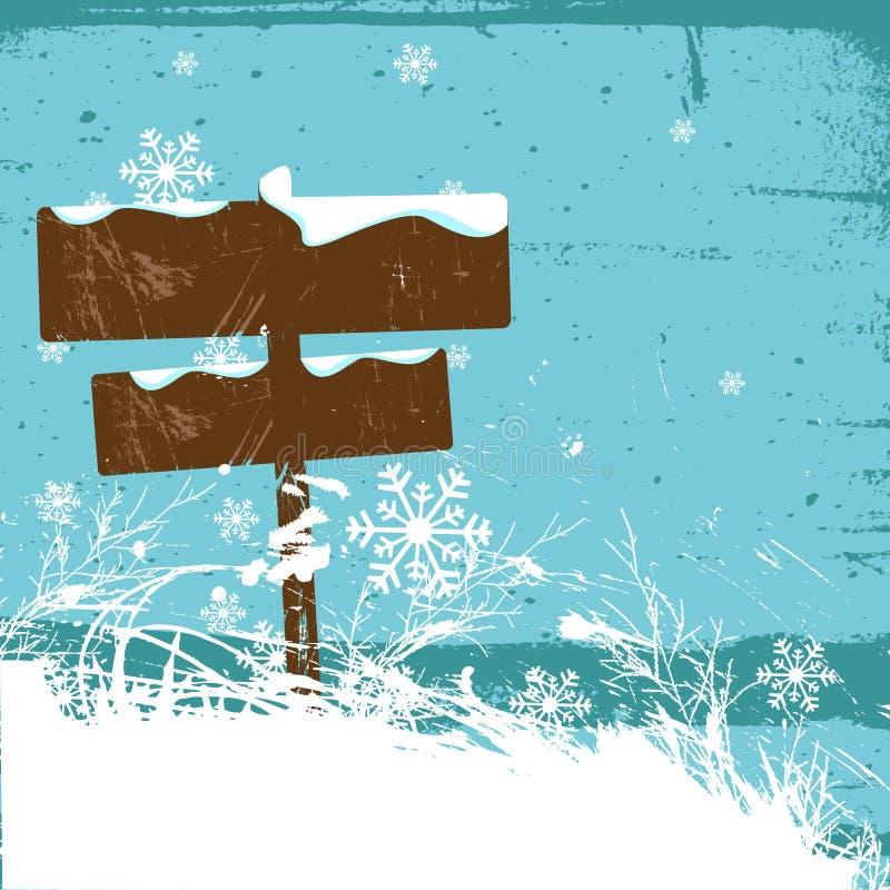 Conception de l'hiver avec le signal de direction illustration libre de droits