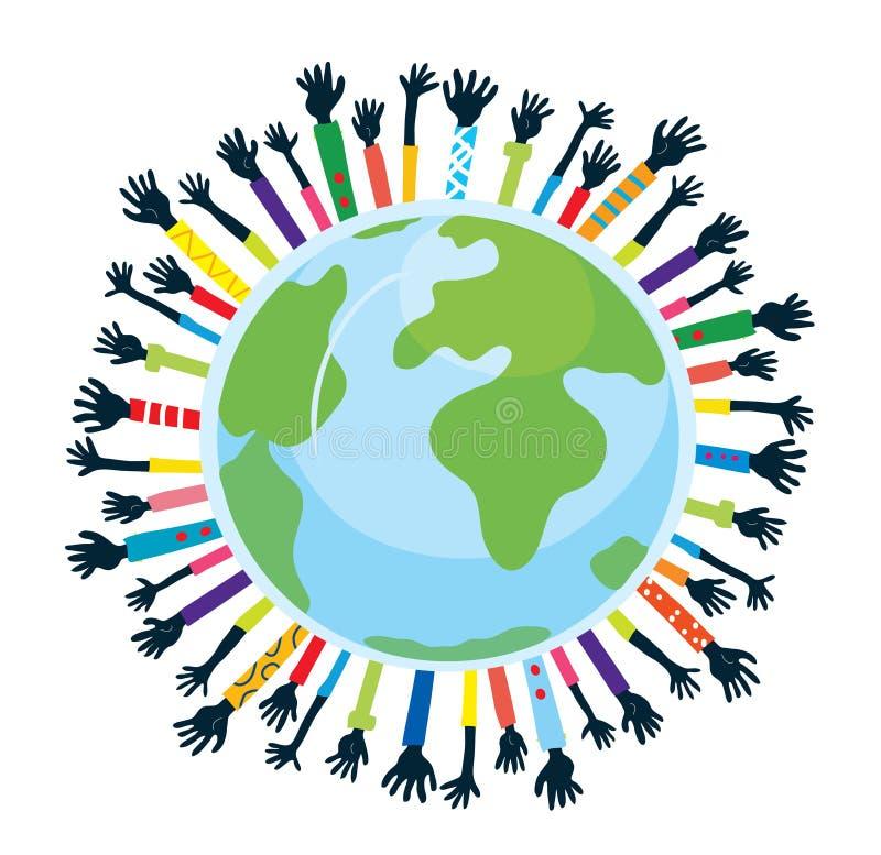 Conception de l'unité et de l'appui avec le globe illustration stock