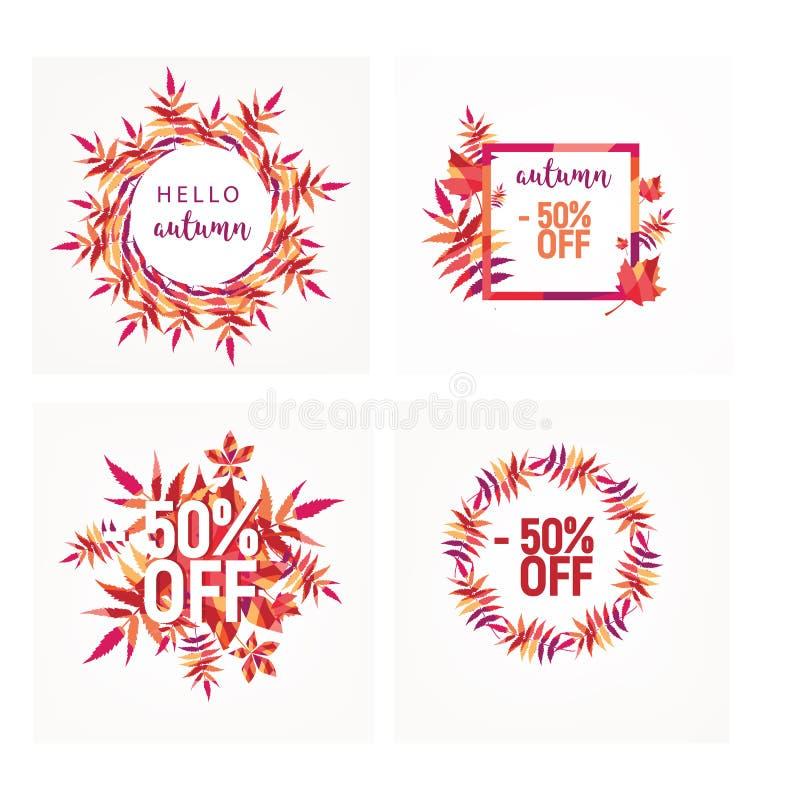Conception de la bannière de vente d'automne avec étiquette de réduction pour la promotion des achats d'automne Illustration vect image stock
