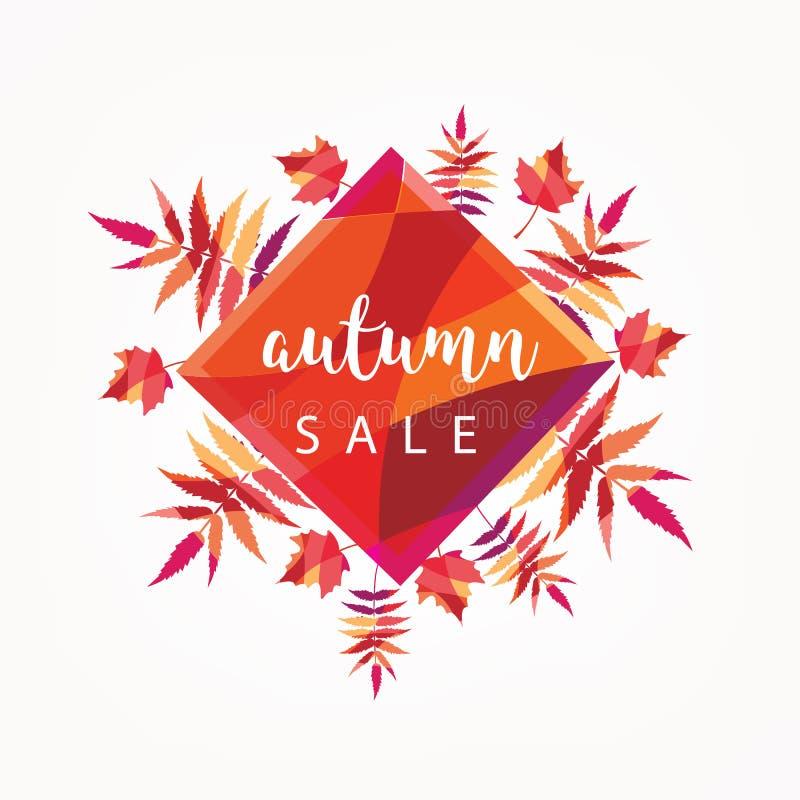 Conception de la bannière de vente d'automne avec étiquette de réduction pour la promotion des achats d'automne Illustration vect images stock