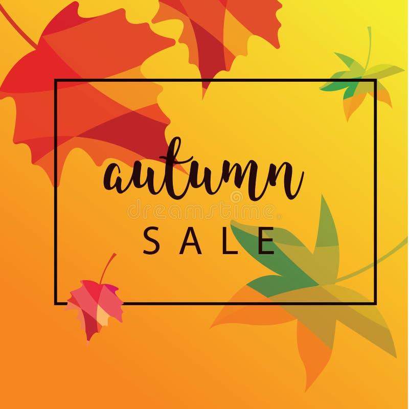 Conception de la bannière de vente d'automne avec étiquette de réduction pour la promotion des achats d'automne Illustration vect photo libre de droits