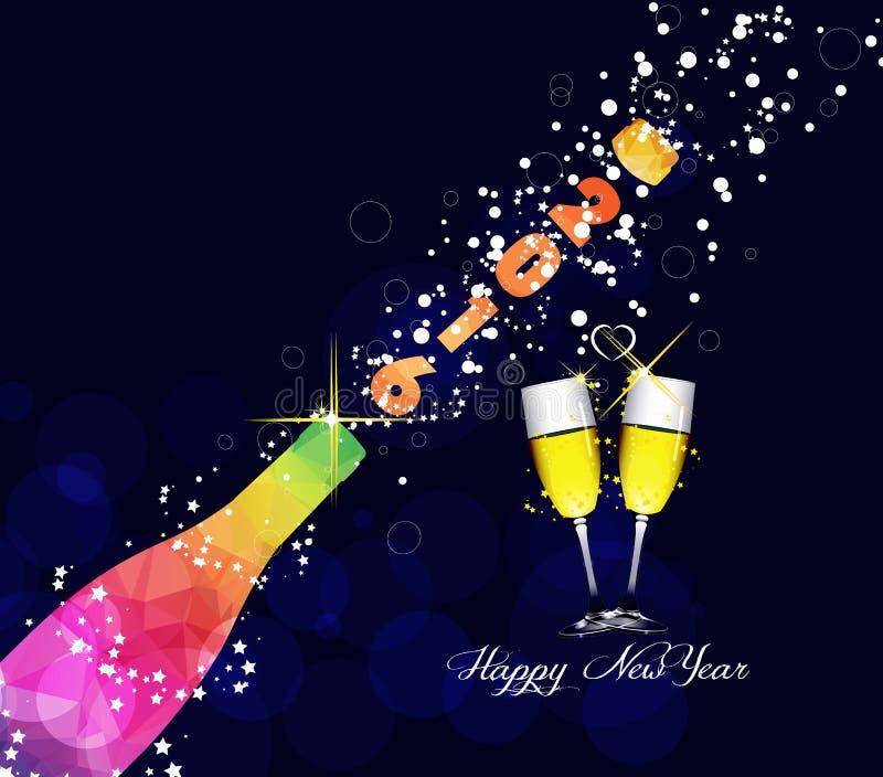 Conception de la carte de voeux 2016 ou de l'affiche de bonne année avec l'explosion colorée de champagne de triangle illustration libre de droits